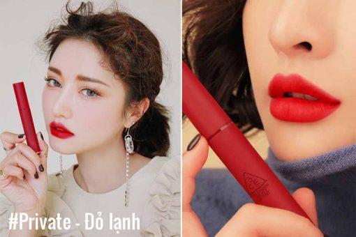 Son kem lì 3ce velvet lip tint Màu đỏ lạnh Private là màu kinh điển, phù hợp với mọi loại da