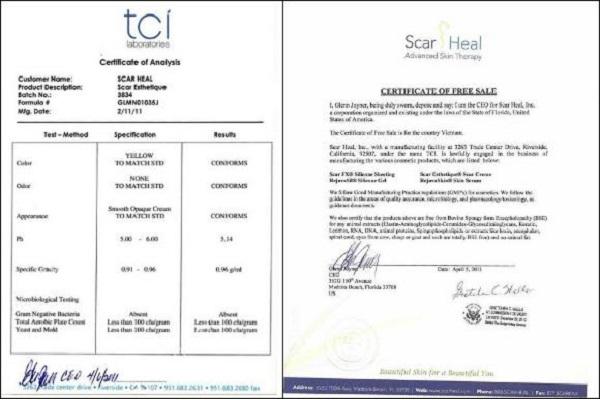 Chứng nhận của Scar Heal về sản phẩm Scar Esthetique