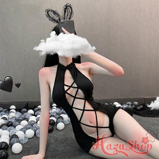 Set do ngu cosplay meo den Bodysuit 4