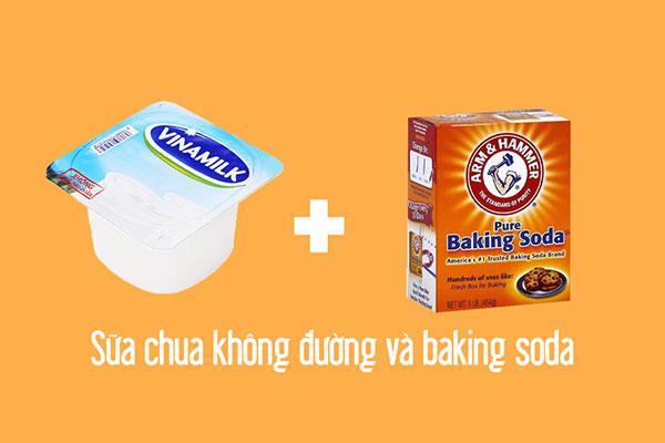 Sữa chua+ baking soda sẽ làm bay màu các vết thâm sau vài ngày